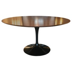 Eero Saarinen for Knoll Tulip Table, Rare Black Base with Teak Top, Signed