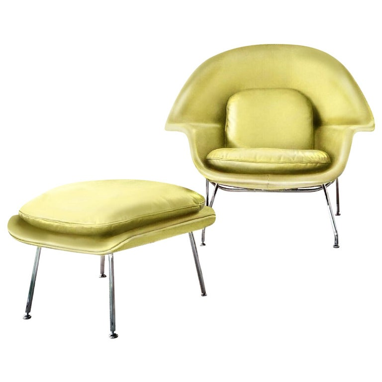 Eero Saarinen for Knoll Womb Chair and Ottoman, Leather, Chartreuse Green-Yellow