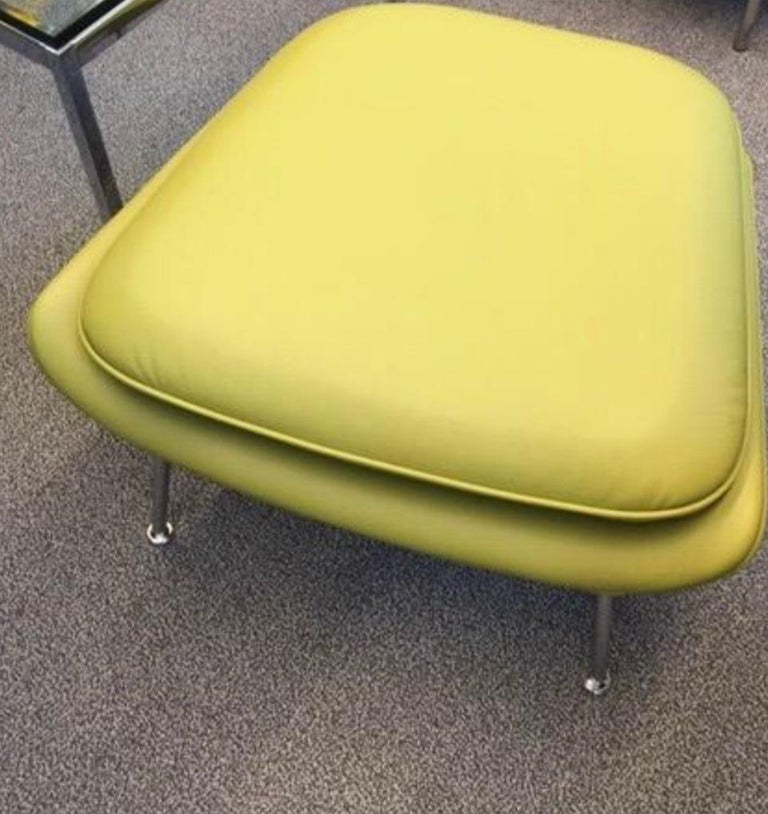 Mid-Century Modern Eero Saarinen for Knoll Womb Chair and Ottoman, Leather, Chartreuse Green-Yellow