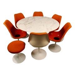 "Eero Saarinen & Knoll International ""Tulip"" Table 6 Chairs 1 Stool Set"