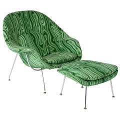 Eero Saarinen Knoll Malachite Womb Chair and Ottoman