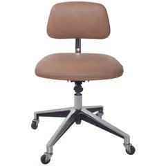 Saarinen KNOLL Office Desk Chair Cocoa Leather on Chrome 1970s