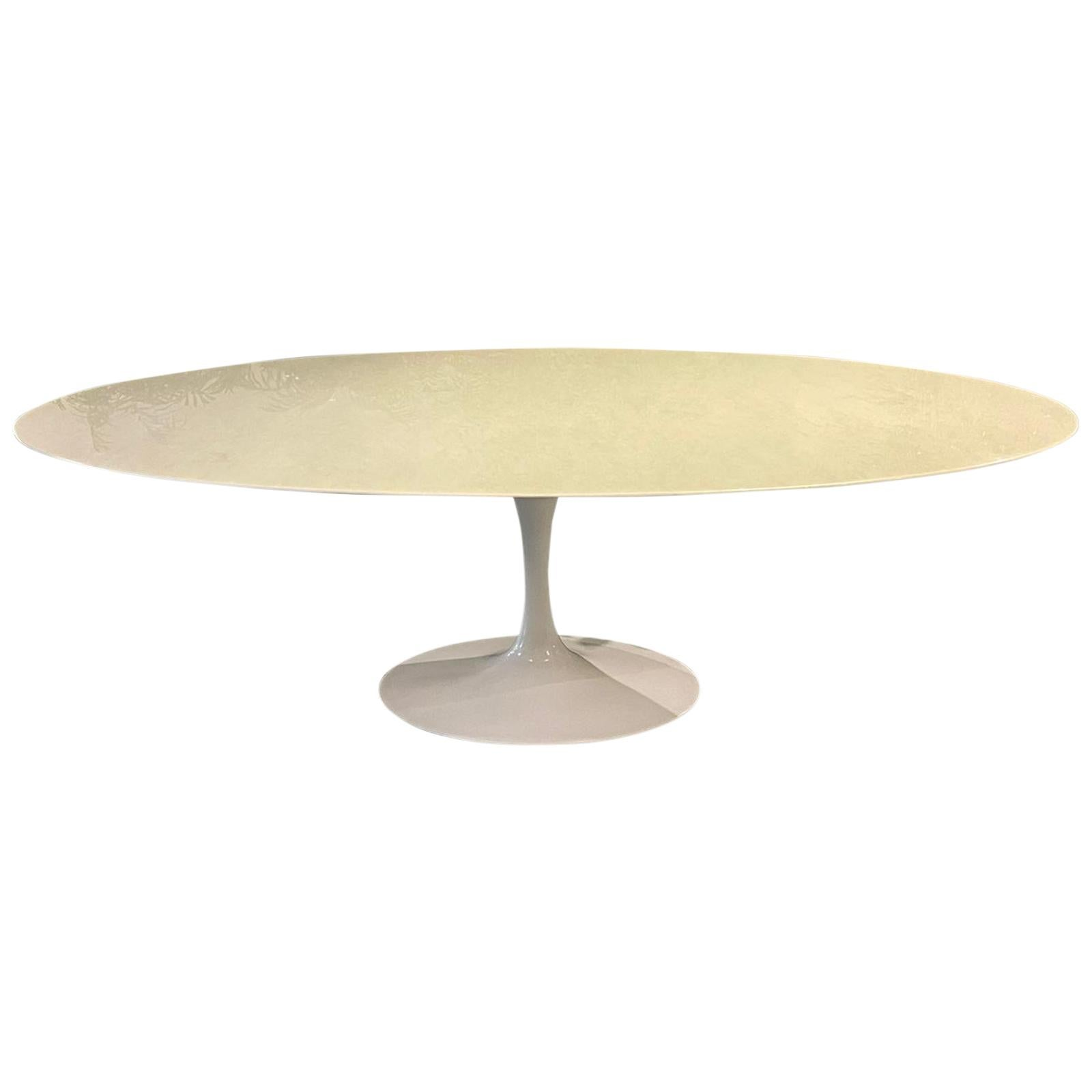 Eero Saarinen Knoll Oval Dining White Marble Table Metal, Italy, 1970s