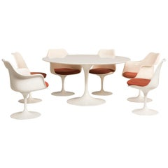 Eero Saarinen Knoll Production 1960s Chairs and Tulip Laminated Table