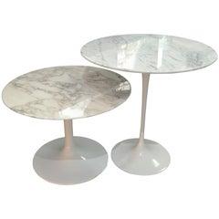 "Eero Saarinen & Knoll, ""Tulip"" Marble Gueridon / Nesting Tables, xxth"