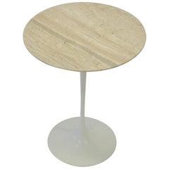 Eero Saarinen Knoll Tulip Table with Travertine Marble Top