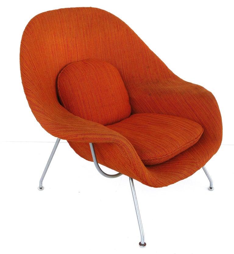 Metal Eero Saarinen Knoll Womb Chair in Knoll Cato Wool Fabric For Sale