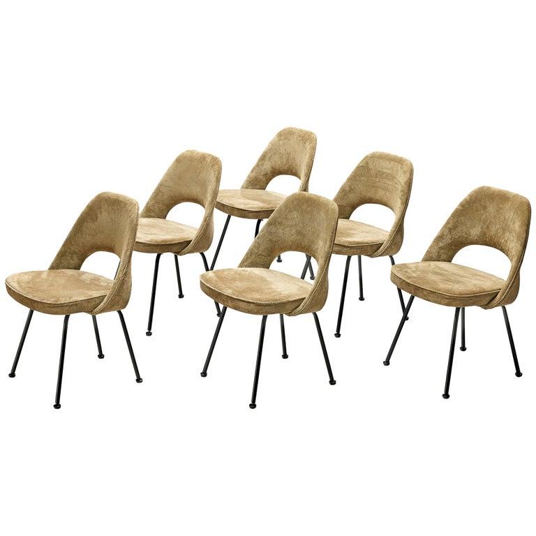 """Eero Saarinen """"Model 72"""" Chairs in Taupe Suede For Sale"""