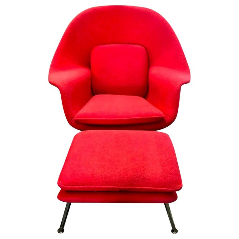 Eero Saarinen Original Midcentury Womb Chair and Ottoman Foot Stool for Knoll For Sale
