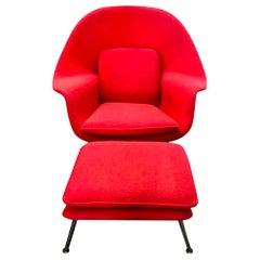 Eero Saarinen Original Midcentury Womb Chair and Ottoman Foot Stool for Knoll