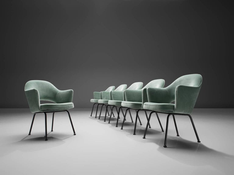 Eero Saarinen for Knoll International, set of 6 chairs, ocean green velvet and metal, United States, 1948.   Eero Saarinen set of six armchairs. This iconic model is reupholstered in a lovely green velvet. The chairs feature a fluid, sculptural