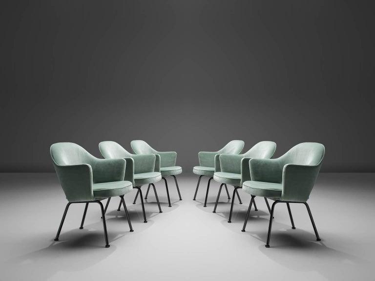 American Eero Saarinen Set of Six Reupholstered Armchairs in Velvet and Metal For Sale