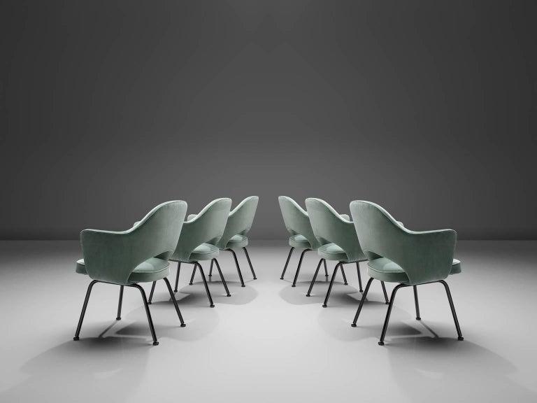 Lacquered Eero Saarinen Set of Six Reupholstered Armchairs in Velvet and Metal For Sale