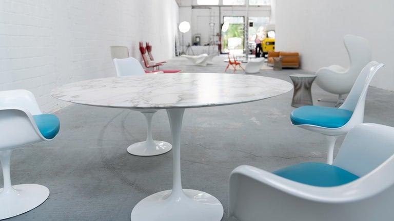 Eero Saarinen, Set of 4 Tulip Chair by Knoll International in Turquoise-Blue For Sale 6
