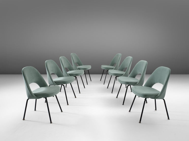 Eero Saarinen for Knoll International, set of eight chairs model 72, metal and turquoise velvet fabric, by United States, design 1948, later production.  Eight organic shaped chairs designed by Eero Saarinen. This iconic model is will be