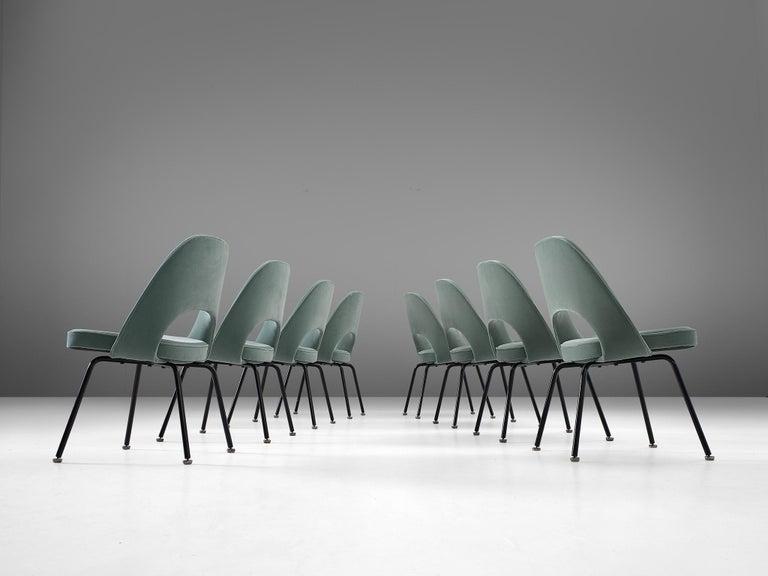 Mid-Century Modern Eero Saarinen Set of Eight Customized Dining Chairs For Sale