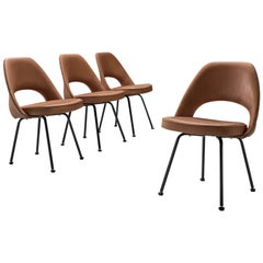 Eero Saarinen Style Set of Four Chairs in Cognac Leather
