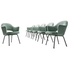 Eero Saarinen Set of Six Reupholstered Armchairs in Velvet and Metal