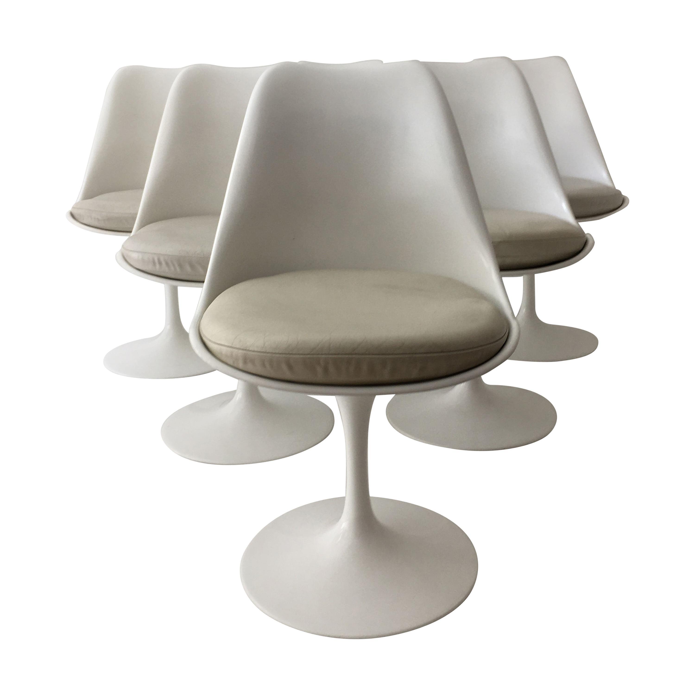 Eero Saarinen Set of Six Tulip Armless Swivel Chairs, Leather Seats, Knoll 1970s