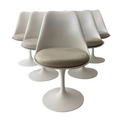 Eero Saarinen Set of Six Tulip Armless Swivel Chairs, Leather Seats, Knoll 1970s
