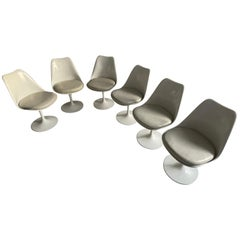 Eero Saarinen Set of Six Tulip Swivel Chairs Original Leather Seats, Knoll 1970s