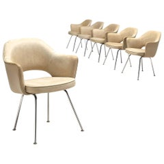Eero Saarinen Six Armchairs in Light Beige Leather