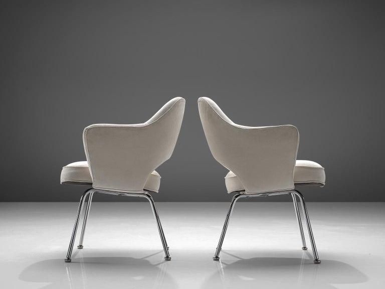 American Eero Saarinen Six Armchairs in White Fabric For Sale