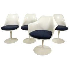 Eero Saarinen Tulip Chairs for Knoll with Original Alexander Girard Fabric, 1965