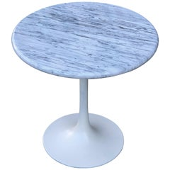 Eero Saarinen Tulip Style Side or End Table in Carrara Marble
