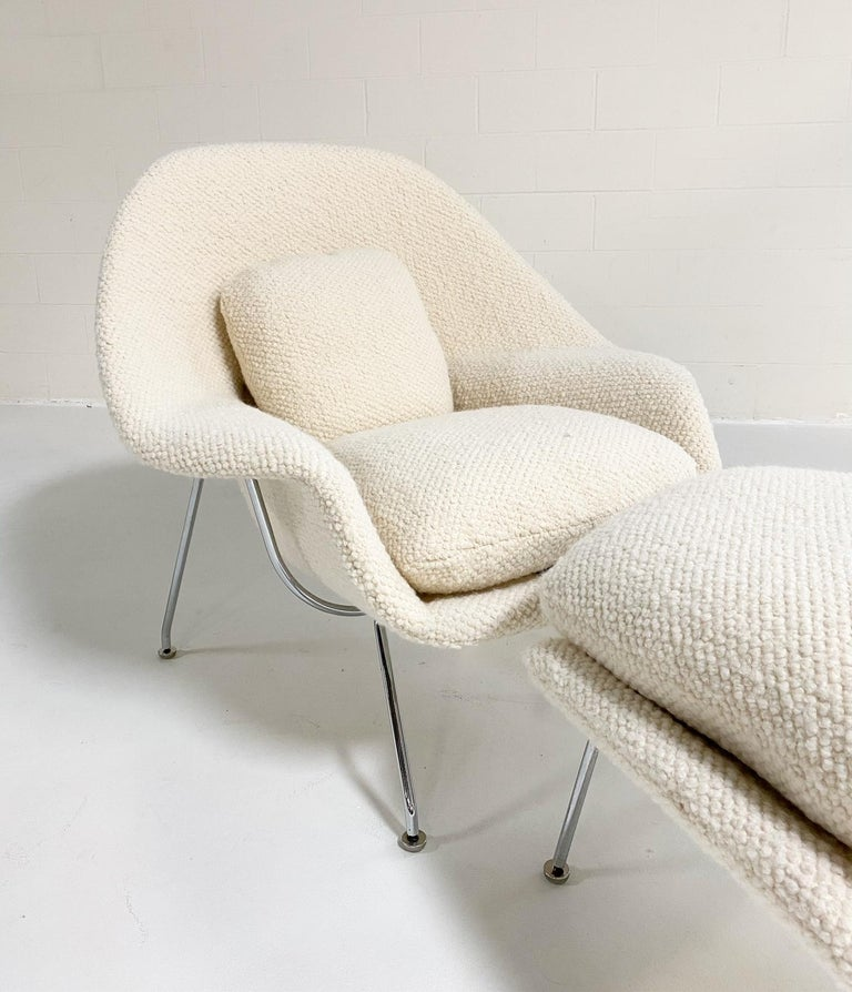 Mid-Century Modern Eero Saarinen Womb Chair and Ottoman in Dedar Boucle For Sale