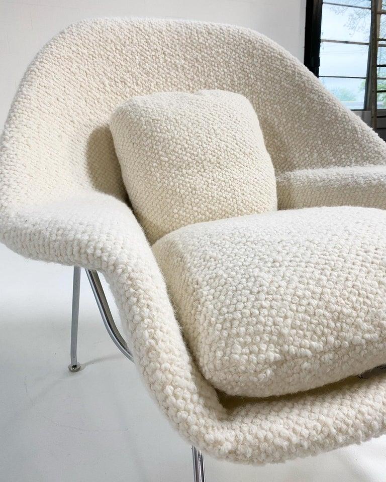 American Eero Saarinen Womb Chair and Ottoman in Dedar Boucle For Sale
