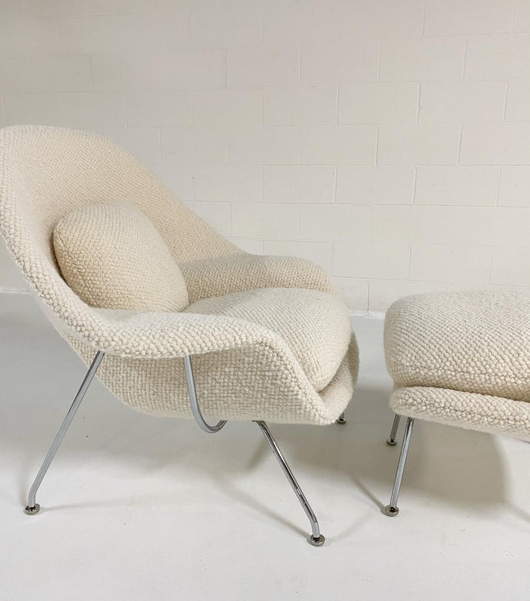 20th Century Eero Saarinen Womb Chair and Ottoman in Dedar Boucle For Sale
