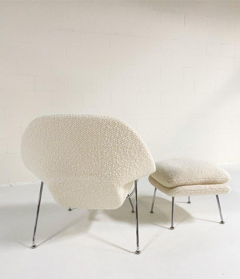 Bouclé Eero Saarinen Womb Chair and Ottoman in Dedar Boucle For Sale