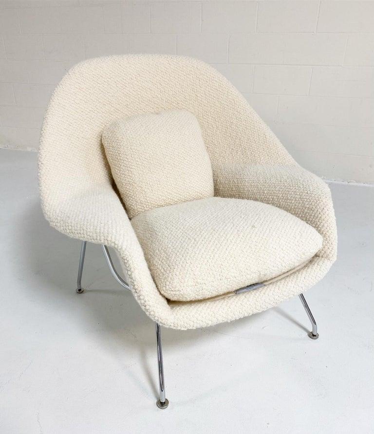 Eero Saarinen Womb Chair and Ottoman in Dedar Boucle For Sale 1