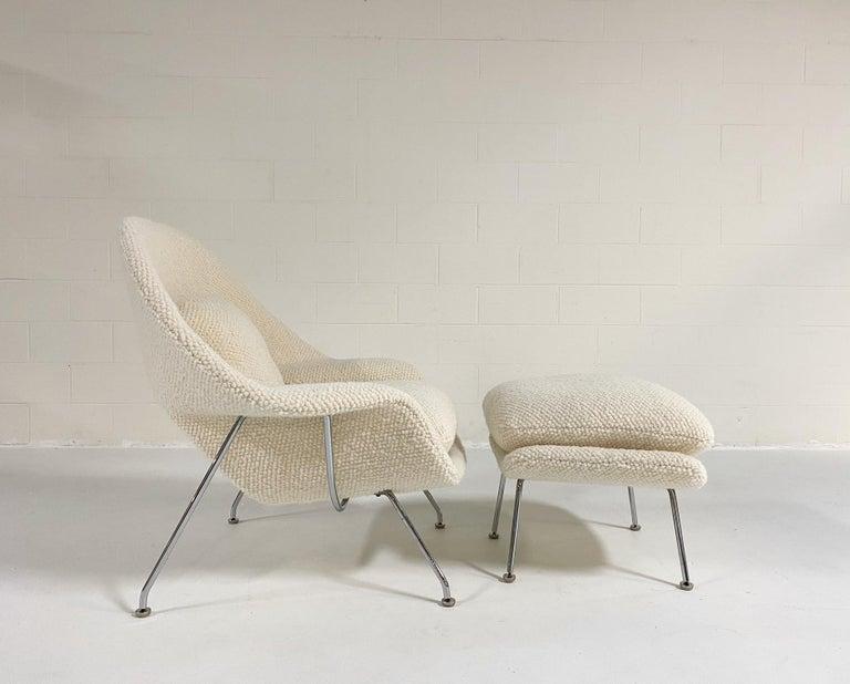 Eero Saarinen Womb Chair and Ottoman in Dedar Boucle For Sale 2