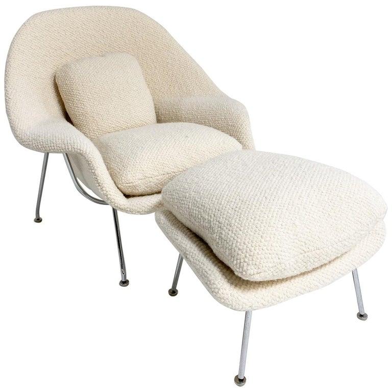 Eero Saarinen Womb Chair and Ottoman in Dedar Boucle For Sale