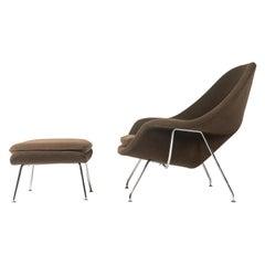 Eero Saarinen Womb Chair and Ottoman in Original Pumpernickel Boucle
