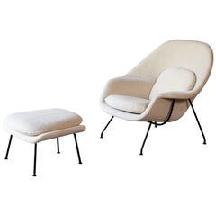 Eero Saarinen Womb Chair and Ottoman, New Alpaca Fabric, Knoll, USA, 1950s-1960s