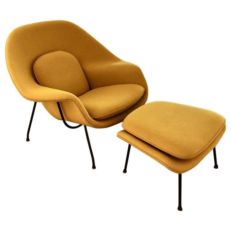"Eero Saarinen ""Womb"" Chair with Ottoman For Sale"