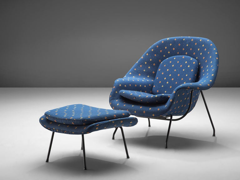 Eero Saarinen for Knoll, 'Womb' chair with ottoman, fabric, metal, 1946-1948, United States.