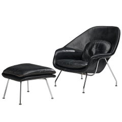 Eero Saarinen 'Womb' Chair with Ottoman in Original Leather