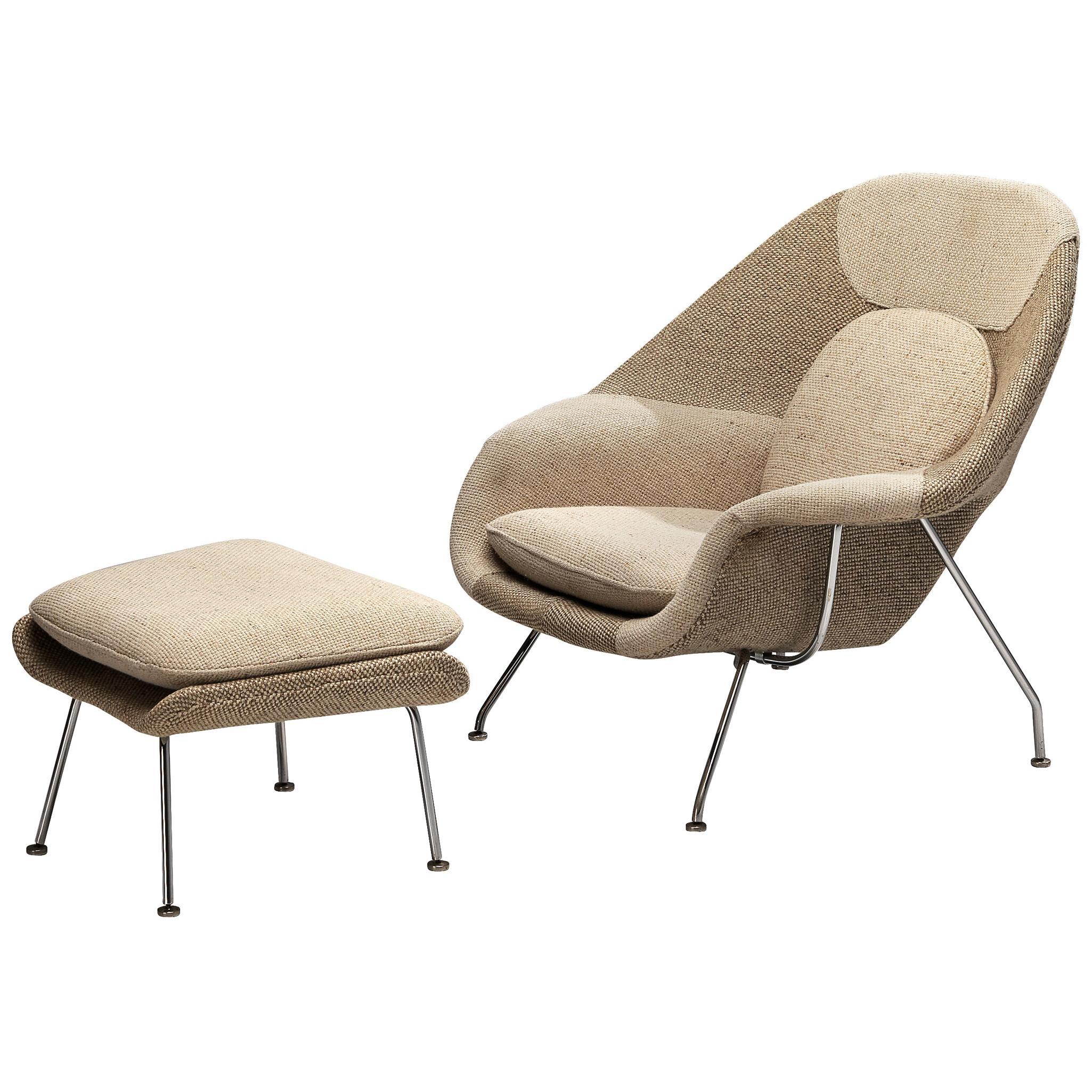 Eero Saarinen 'Womb' Chair with Ottoman in Original Off-White Fabric