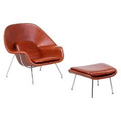 "Eero Saarinen ""Womb"" Cognac Leather Chair with Ottoman for Knoll"