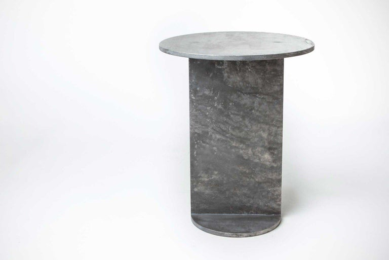 Contemporary Eero Table in Wax-Polished Aluminum Plate by Jonathan Nesci For Sale