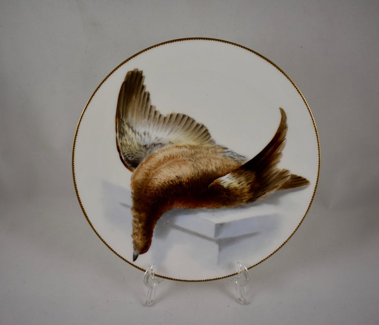 EF Bodley Staffordshire Dead Game Plates, a Hamburgh Fowl and Grouse, circa 1875 For Sale 4