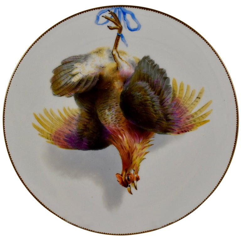 A pair of porcelaneous plates by Edward F. Bodley, Burslem, Staffordshire, England,circa 1875 – showingThe Grouse and The Hamburg Fowl. Beautiful in a game room, entry hall, pantry, or kitchen.  A central hand painted image of the dead game