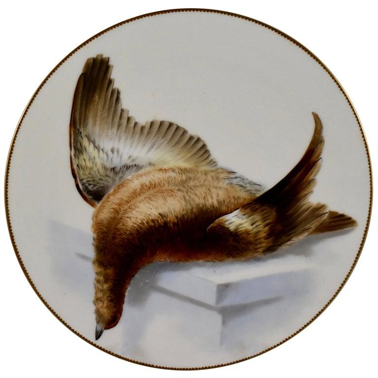 Aesthetic Movement EF Bodley Staffordshire Dead Game Plates, a Hamburgh Fowl and Grouse, circa 1875 For Sale