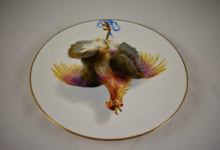 Porcelain EF Bodley Staffordshire Dead Game Plates, a Hamburgh Fowl and Grouse, circa 1875 For Sale