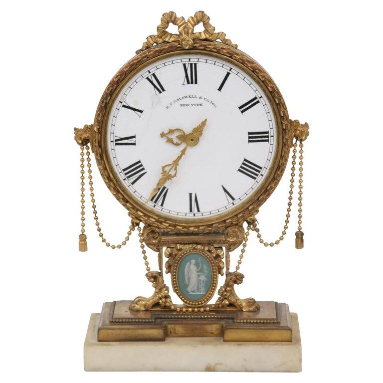 E.F. Caldwell Neoclassical Desk Clock For Sale