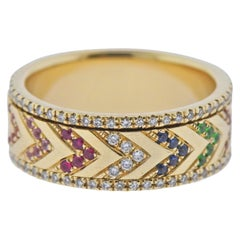EF Collection Gold Rainbow Chevron Sapphire Diamond Spinning Band Ring